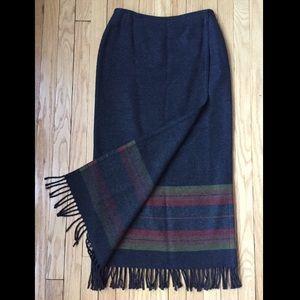 Jones New York Country wool maxi wrap skirt